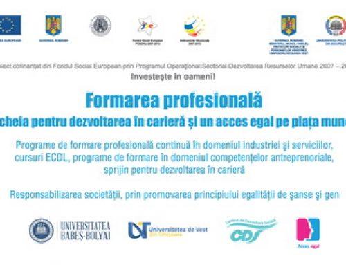 Formarea profesionala – cheia pentru dezvoltarea in cariera si un acces egal pe piata muncii